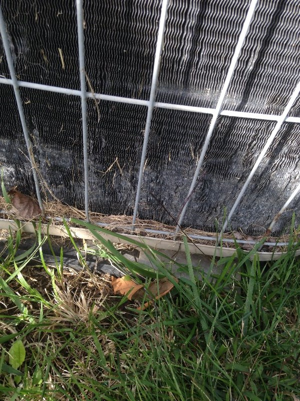 HVAC system claimed as hail damage but with damage from a weed eater