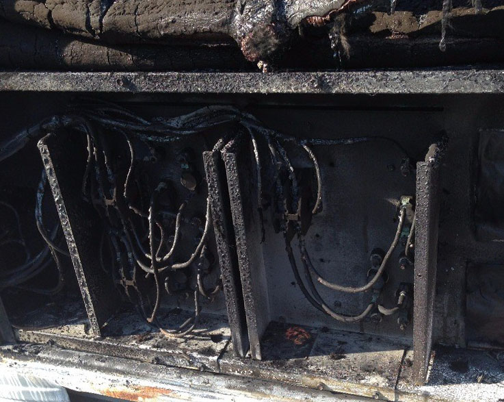 Wildfire Risk: fire damaged electrical components