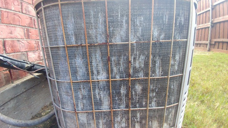 Corrosion can cause the fins of a condenser coil to be too brittle to starighten